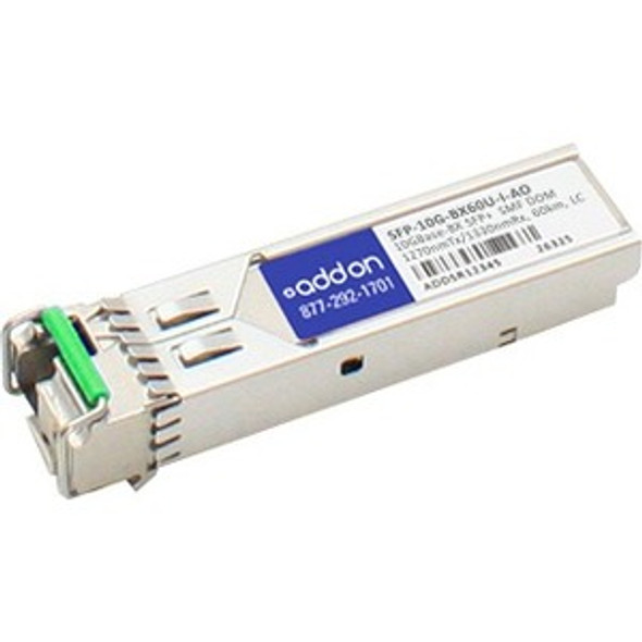 AddOn Cisco SFP-10G-BX60U-I Compatible TAA Compliant 10GBase-BX SFP+ Transceiver (SMF, 1270nmTx/1330nmRx, 60km, LC, DOM) - SFP-10G-BX60U-I-AO