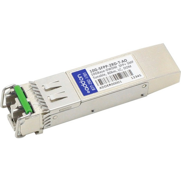 AddOn Brocade 10G-SFPP-ZRD-T Compatible TAA Compliant 10GBase-DWDM 50GHz SFP+ Transceiver (SMF, Tunable, 80km, LC, DOM) - 10G-SFPP-ZRD-T-AO