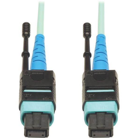 Tripp Lite MTP MPO Patch Cable Push Pull Tab 100GbE Aqua OM3 Plenum 3M 10ft 10' '3 Meter - N846-03M-24-P