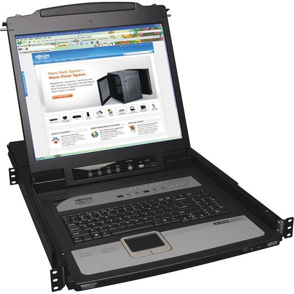 """Tripp Lite 8-Port Rack Console KVM Switch built in IP w/ 19"""" LCD 1U - B020-U08-19-IP"""
