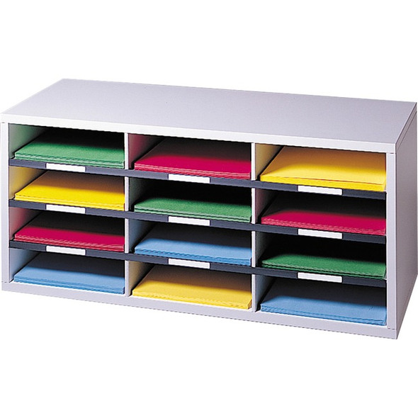 Fellowes Literature Organizer - 12 Compartment Sorter, Dove Gray - 25004