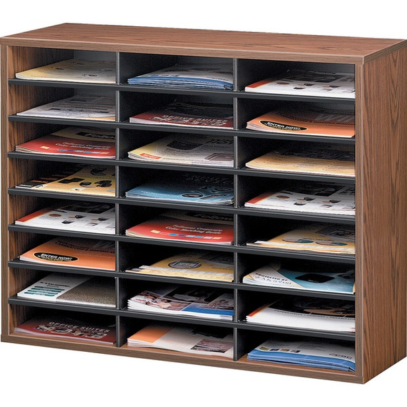 Fellowes Literature Organizer - 24 Compartment Sorter, Medium Oak - 25043