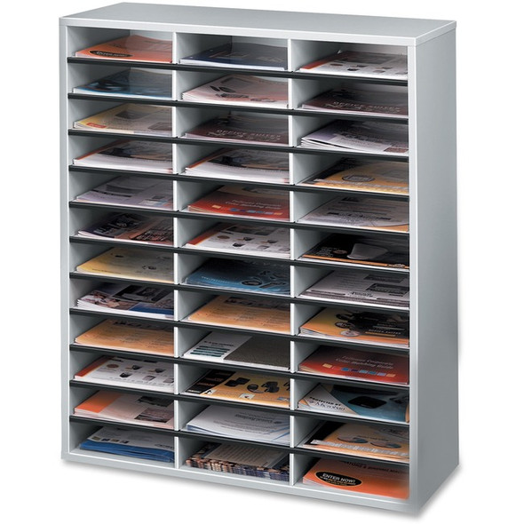 Fellowes Literature Organizer - 36 Compartment Sorter, Dove Gray - 25061