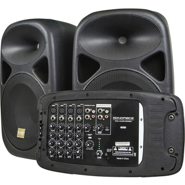 Monoprice 130-Watt 8-channel PA System with Two 10-inch Speakers - 604355