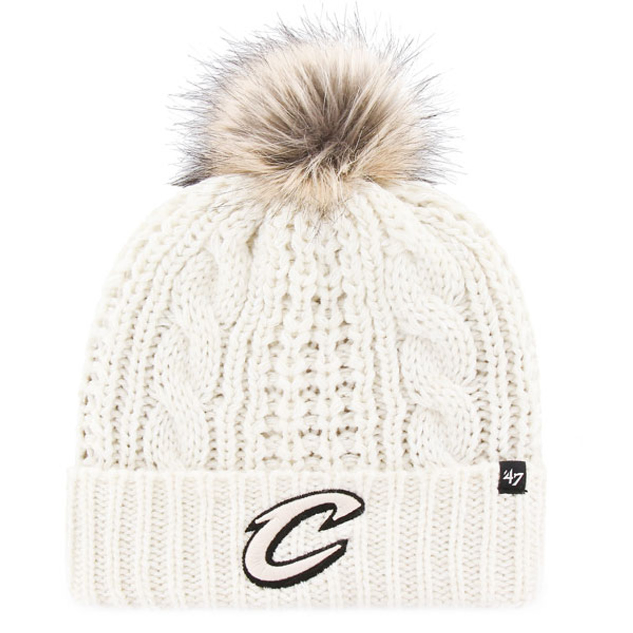 a3674d4a60747f Cozy Cream Knit Hat with Faux Fur Pom | Cleveland Cavaliers Team Shop