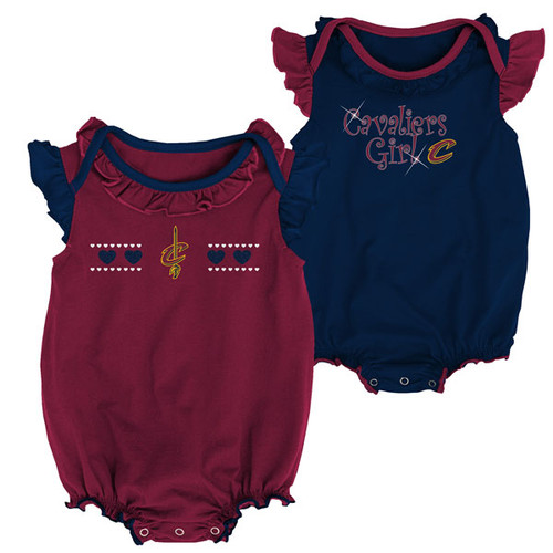 adf5e14852f Newborn Cavs Girl 2 Piece Onesie Set