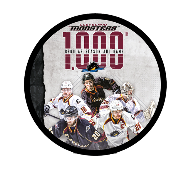 Celebrate over 60,000 action-packed minutes of Monsters Hockey with this special edition 1000th Game Puck!