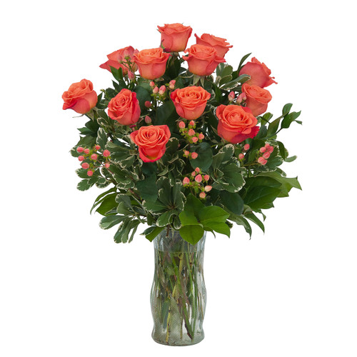 Orange Roses and Berries Vase
