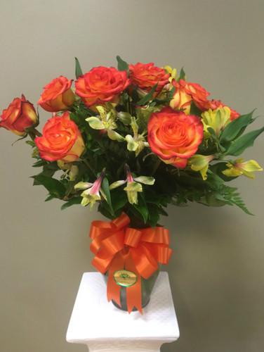 Dozen Roses with alstromeria