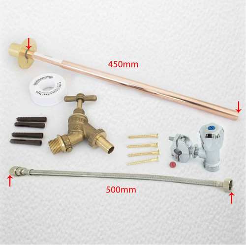 Outdoor Garden Diy Tap Kit Self Cut Brass Extra Long 450Mm Wall Plate Flange FTB2213 5055639198364