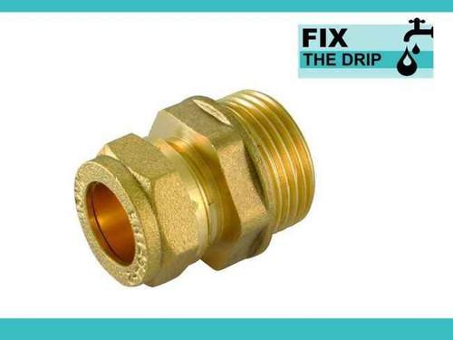 Ftd Brass Compression 28Mm X 1 Bspt Male Iron Straight Coupler FTB1632 5055639139923