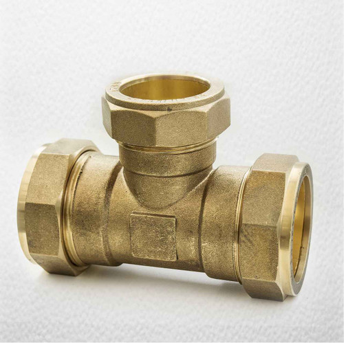 Brass Compression Reducing Tees 42Mm X 42Mm X 35Mm FTB1640 5055639139862