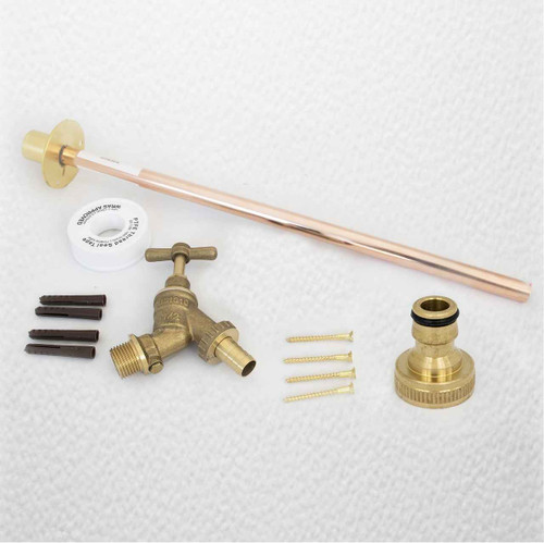 Outdoor Garden Tap Kit Complete With Through The Wall Copper Tube Garden Tap FTB1205 608938910165