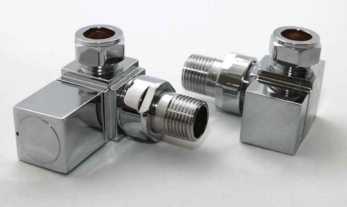 Square Corner Angled Chrome Valve Set - Heated Towel Rail / Radiator Block Va FTB591 5055639122918