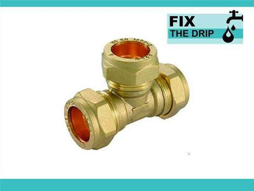 Trade Pack 2 X Ftd 22Mm Brass Equal Compression Tee Fitting FTB1506 5055639128583