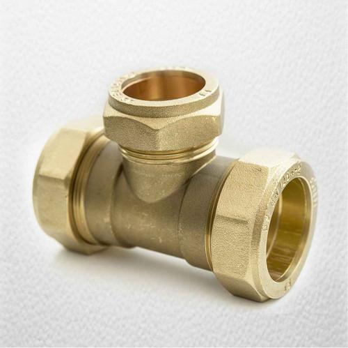 Brass Compression Reducing Tees 35Mm X 35Mm X 28Mm FTB1625 5055639129818