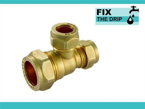 Brass Compression Reducing Tees 28Mm X 28Mm X 15Mm FTB1618 5055639129740