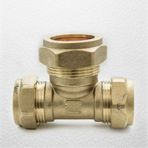 Brass Compression Reducing Tees 22Mm X 22Mm X 28Mm FTB1617 5055639129733