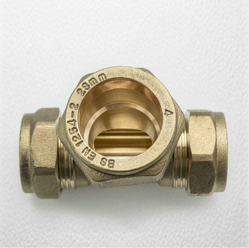 Brass Compression Reducing Tees 22Mm X 22Mm X 28Mm FTB1617 5055639129733