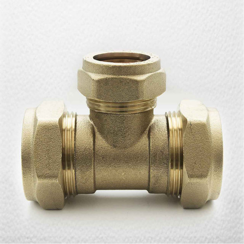 Brass Compression Reducing Tees 28Mm X 28Mm X 22Mm FTB1619 5055639129757