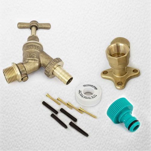 1/2 Garden Outside Tap With Backplate Elbow, Plugs, Ptfe And Screws FTB1539 5055639198524