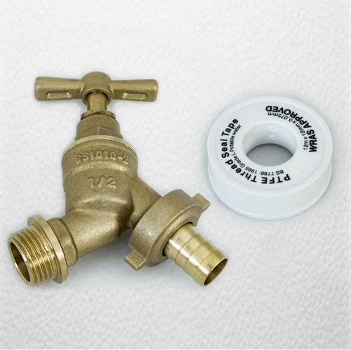 1/2 15Mm Outside Bib Tap With Ptfe Plumber Tape Hose Union Bs1010-2 Brass Garden FTB1639 5055639198531