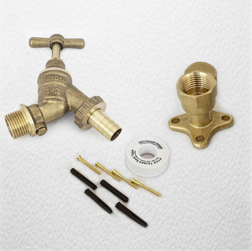 3/4 Garden Outside Tap With Backplate Elbow, Plugs Ptfe And Screws FTB1538 5055639198609
