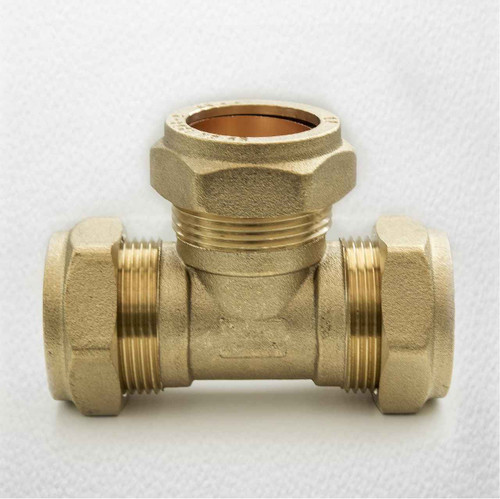 Ftd 28Mm Brass Equal Compression Tee Fitting FTB1475 5055639128620