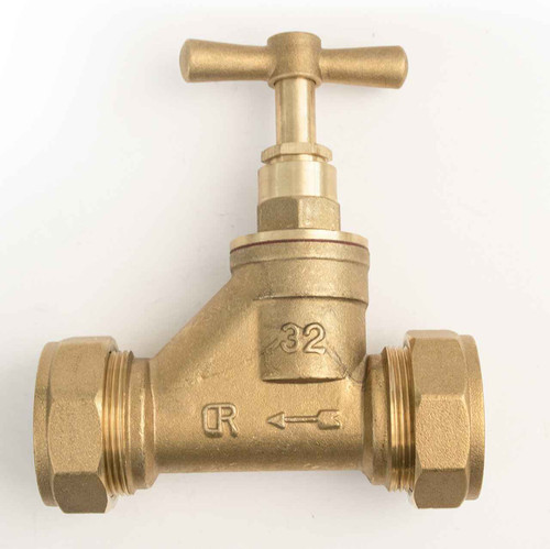 Ftd Brass Compression Stopcock Dzr 32Mm Mdpe X 32Mm Mdpe Bs1010 Poly FTB1593 5055639129498