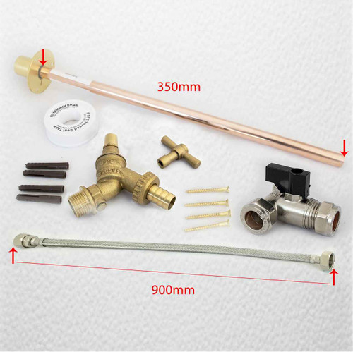 Outside Tap Kit Vandle Proof Diy Professional Finish 355 Mm Wall Flange 900 Flexi FTB1534 5055639128866