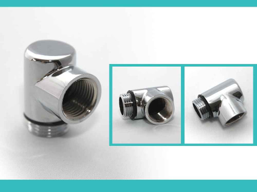 Chrome Dual Fuel T Piece Heating Element Towel Rail FTB783 5055639140295