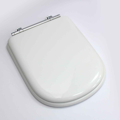 Sottini Reprise Toilet Seat With Cover In White With Chrome Hinges FTB1033 5055639124905