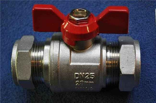 28Mm Butterfly Ball Valve Red Hot Wras Approved FTB792 5055639124011