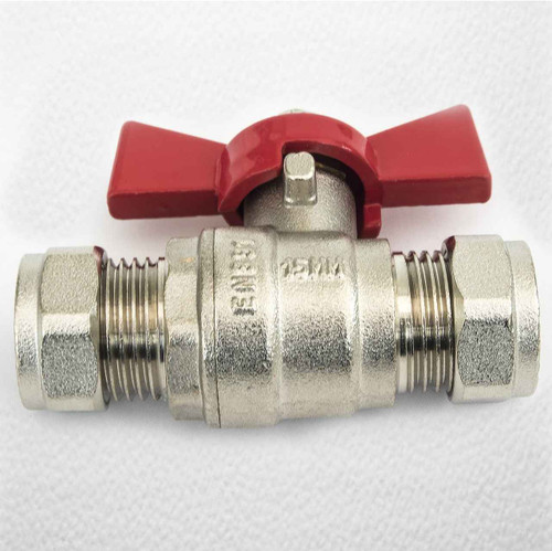 15Mm Butterfly Ball Valve Red Hot Wras Approved FTB790 5055639123991