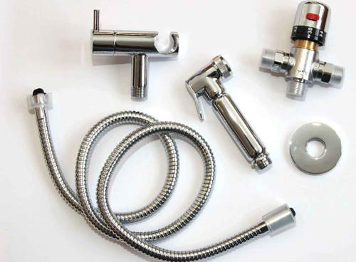 Muslim Shataff Bidet Douche Shower Toilet Spray Chromed Brass Kit Head Wadhu Thermostatic Controlled FTB1956 5055639139442