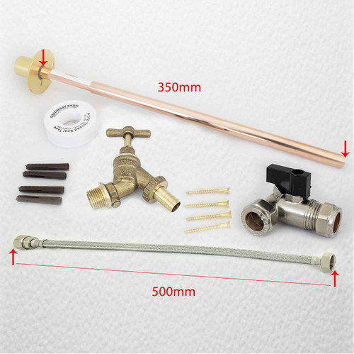 Outside 1/2 inch Hose Union Bib Tap Set - Complete Fixing Kit and Through Wall Backplate FTB1876 5055639139961