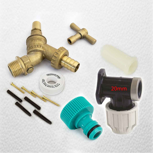 20mm MDPE Outside Tap Kit With Plastic Wall Plate and Garden Hose Fitting DCV Anti Vandle FTB2888 5055639195998