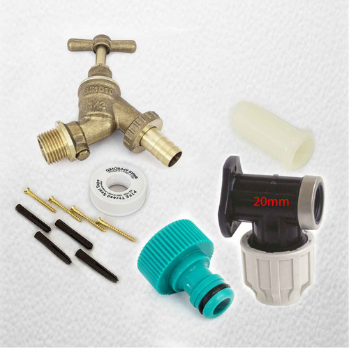 20mm MDPE Outside Tap Kit With Plastic Wall Plate and Garden Hose Fitting DCV FTB2887 5055639196001