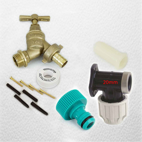 20mm MDPE Outside Tap Kit With Plastic Wall Plate and Garden Hose Fitting FTB2886 5055639196025
