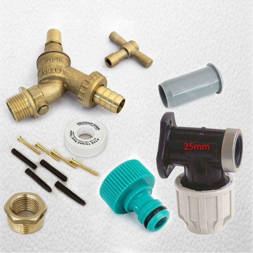 25mm MDPE Outside Tap Kit With Plastic Wall Plate and Garden Hose Fitting DCV Anti Vandle FTB2884 5055639196032