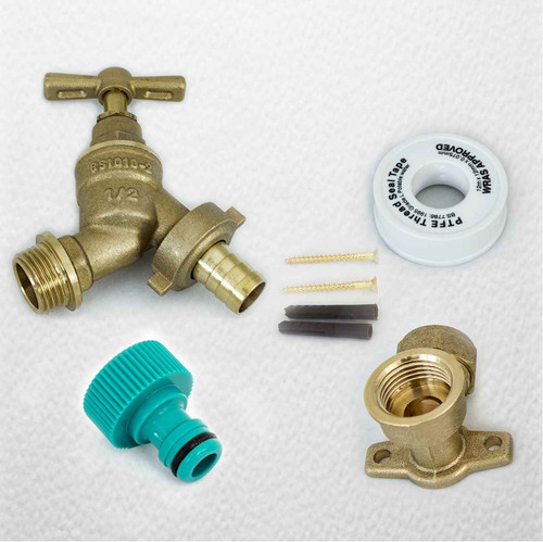 Outside Tap Kit With Wall Plate Elbow and Garden Hose Fitting FTB2879 5055639195844