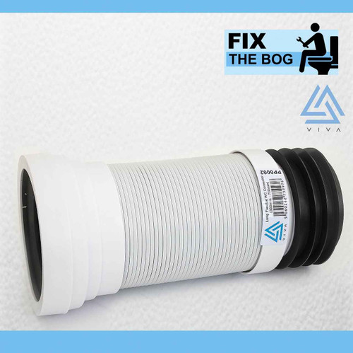 VIVA Long Flexible Connector Back To Wall Close Coupled Pan WC Toilet Waste 300-750 mm 110 mm FTB4083 5060262739969