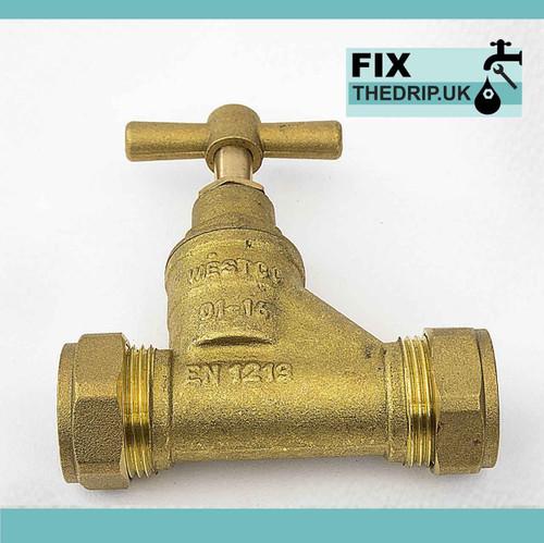 FixTheBog 22mm Brass CxC EN1213 Stop cock FTB2903 5055639140202