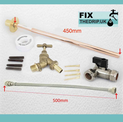 OUTSIDE 1/2 HOSE UNION BIB TAP SET COMPLETE FIXING KIT and THROUGH WALL 450mm BACKPLATE FTB5383 5055639139961