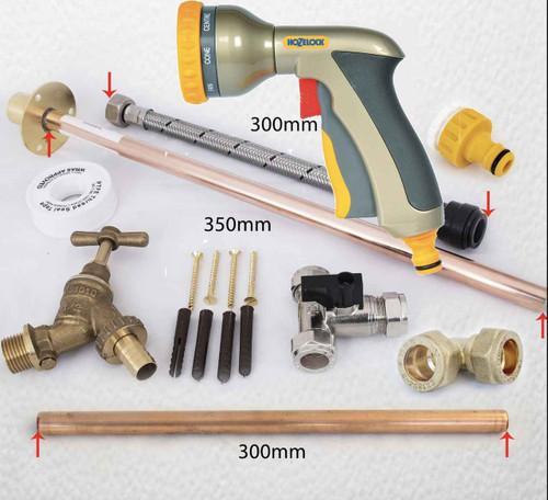FixTheBog Professional Outside Garden Tap kit with THRU WALL Hozelock Water Regs GT6 with Hozelock 2691 Multi Spray Gun FTB6151 5055639171503