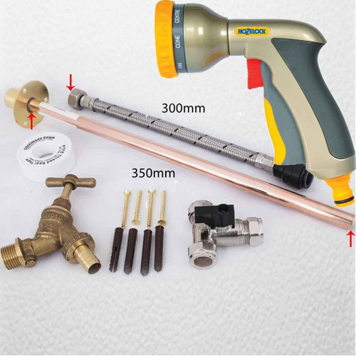 FixTheBog Outside Tap Kit DIY plus Hozelock Multi Spray Gun Professional finish 350mm through the wall Flange GT1 FTB6157 5055639128378