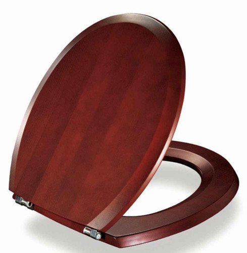 FixTheBog Replacement Toilet Seat for Twyford Romany in Mahogany with Chrome hinges and full fitting kit FTB9083 5055639172456