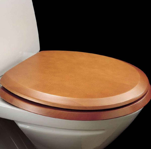 FixTheBog Replacement Toilet Seat for Armitage Shanks Sandringham/Baronet in Cherry with Chrome hinges and full fitting kit FTB9157 5055639171718