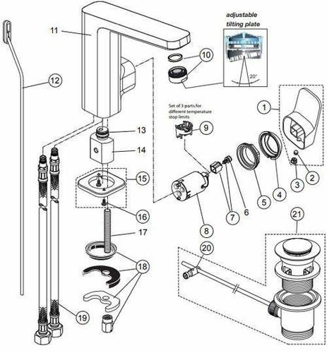 Ideal Standard B961088NU Kerox Hot Water Limiter FTB10660 3800861036623