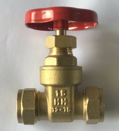 22mm Brass Compression to Compression Gate valve Wheelhead FTB2905 5055639140202
